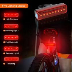 LED Fahrradlichter Fahrradlampe Frontlicht Fahrradlicht Set wiederaufladbar USB wasserdicht mit Frontlicht Rücklicht