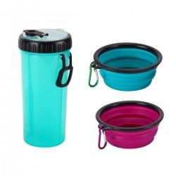 2in1 Haustier Futterbehälter Trinkflasche Trinkwasserflasche für Resie