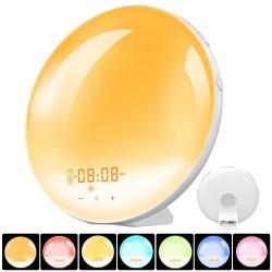 Wake up Light Lichtwecker Digital FM Tageslichtwecker Nachtlicht Sonnenaufgang Simulation FM Radio 2 Alarm 8 Natürlich 7 Farben