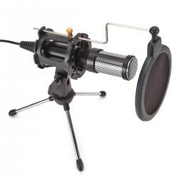USB Mikrofon Kondensator Computer PC Mikrofon mit Ständer, Popfilter, Mikrofonspinne für Streaming, Podcasting, YouTube