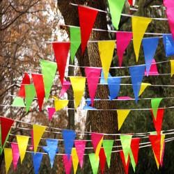 Wimpelkette Stoff 38 Meter bunt Girlande Banner Fahne, Indoor & Outdoor Draußen als Deko Dekoration