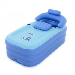 Badewanne Bathtub Nackenkissen aus PVC Aufblasbar Blau mit Luftpumpe