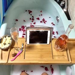 Badewannenablage Spa Organizer Halter Bambus für Bücher oder Tablets