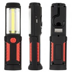 Handlampe Arbeitsleuchte Magnet Taschenlampe Akku LED Lampe 3W Rot