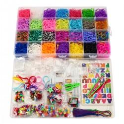 DIY Gummibänder Set 10500 Bunt Gummibänder Starterset Kasten mit Webrahmen für Armbänder Bunt Starter Box Bänder Set zum Basteln