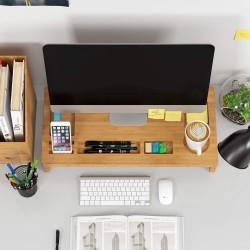 Monitorständer Bambus Bildschirmständer Bildschirmerhöhung Organizer