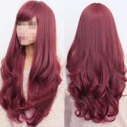 Perücke Damen lockige Frauen Cosplay Lang Haar burgunderrot 65cm