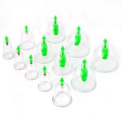 Schröpfkopf Set Cupping Set: 12x Schröpfgläser mit Pumpe, 6x Magneten