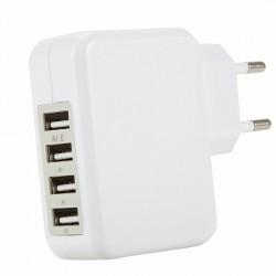 USB Ladeadapter Netzteil Ladegerät 4-Port Charger für Handys weiß