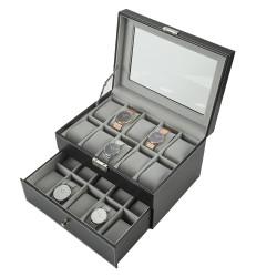 Uhrenbox Uhrenaufbewahrung Uhrenlade PU Uhrenkästchen 20 Uhren schwarz