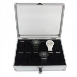 Uhrenbox Uhrenkasten aus Alu für 12 Uhren Uhrenkoffer mit Glasdeckel