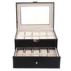 Uhrenbox Uhrenkoffer Doppelte Schicht für 20 Uhren/Armbanduhr Schwarz