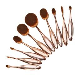 Pinselset 10stk. Oval Make-up Pinsel Schmink Kosmetik Bürste Rosegold