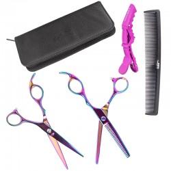 Beauty 5tlg. Buntes Friseurschere Set Haarschere Haarschneideschere