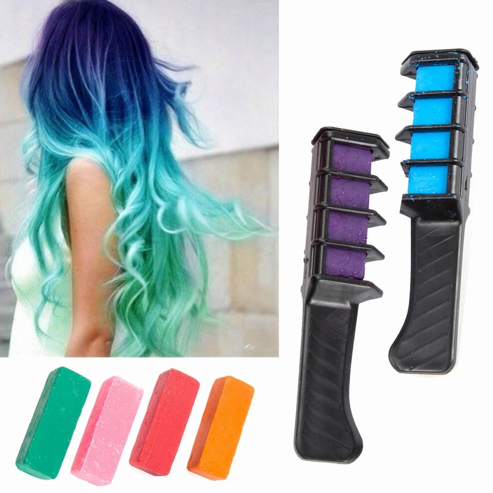 haarkreide hair chalk schimmer haar 6 farben creme set mit 2 kamme