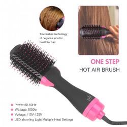 One Step Haartrockner Warmluftbürste Föhnbürste, 3 Frisueren Haarglätter Bürste Glätteisen Hair Dryer Heißluftbürste Lockenwickler Rundbürste Stylingbürsten