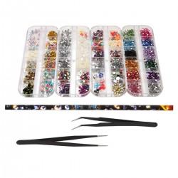 4 Boxen Nail Art Strass Kit Multi Design Zubehör mit 2pcs Pinzetten