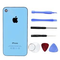 Glas iPhone 4S Rückseite Akkudeckel Backcover mit Werkzeug Hellblau
