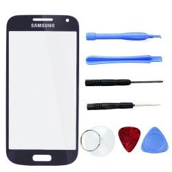 Frontscheibe Displayglas Ersatzglas Werkzeug f. Samsung S4 mini blau