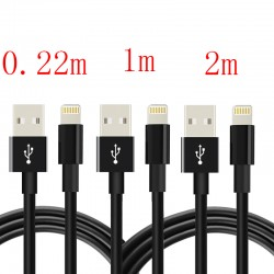 3Stk. Lightning Kabel Ladekabel USB Kable f. iPhone 7, 0.22m + 1m + 2m