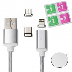 Datenkabel Magnet Ladekabel Kabel Micro USB Lightning Type C 3-in-1