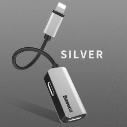 Lightning 2in1 Dual Adapter Kopfhörer und Laden silber f. iPhone X 8 7
