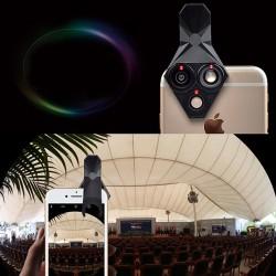 Clip-On Fischauge Objektiv Handy Objektiv 3in1 Kits für iPhone X 8