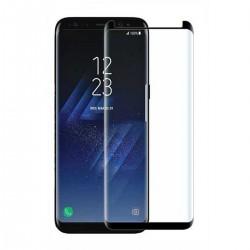 Panzerglas Schutzfolie Abdeckung 9H Härte f. Galaxy S9 plus schwarz