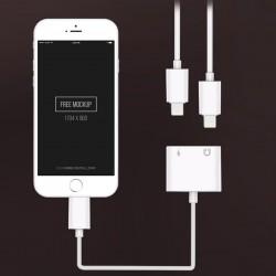 Lightning Kopfhörer Aux Audio 2in1 Adapter für iPhone 3.5mm weiss