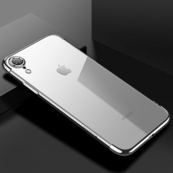 Hülle Bumper Schutzhülle PC Plastik Harte Case f. iPhone XR silber