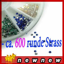 Glittersteine 600 runde Perlen Nagel Tipps Sticker Scheibe Dekoration