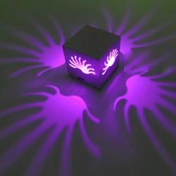 Wandlampe Nachttischlampe Flurlampe Alu Lampe Gehäuse 3W lila