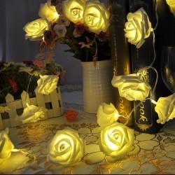 Weihnachtsbeleuchtung Lichterkette Warmweiß Rosen 2.2m 20LED Rosen