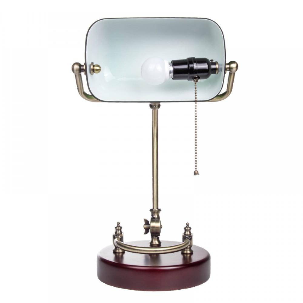 bankerlampe gr n mit verziertem holzfu retro. Black Bedroom Furniture Sets. Home Design Ideas
