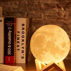 Mondnachtlicht 3D Mond Lampe Dock 3 Farben dimmbar LED USB Nachtlicht
