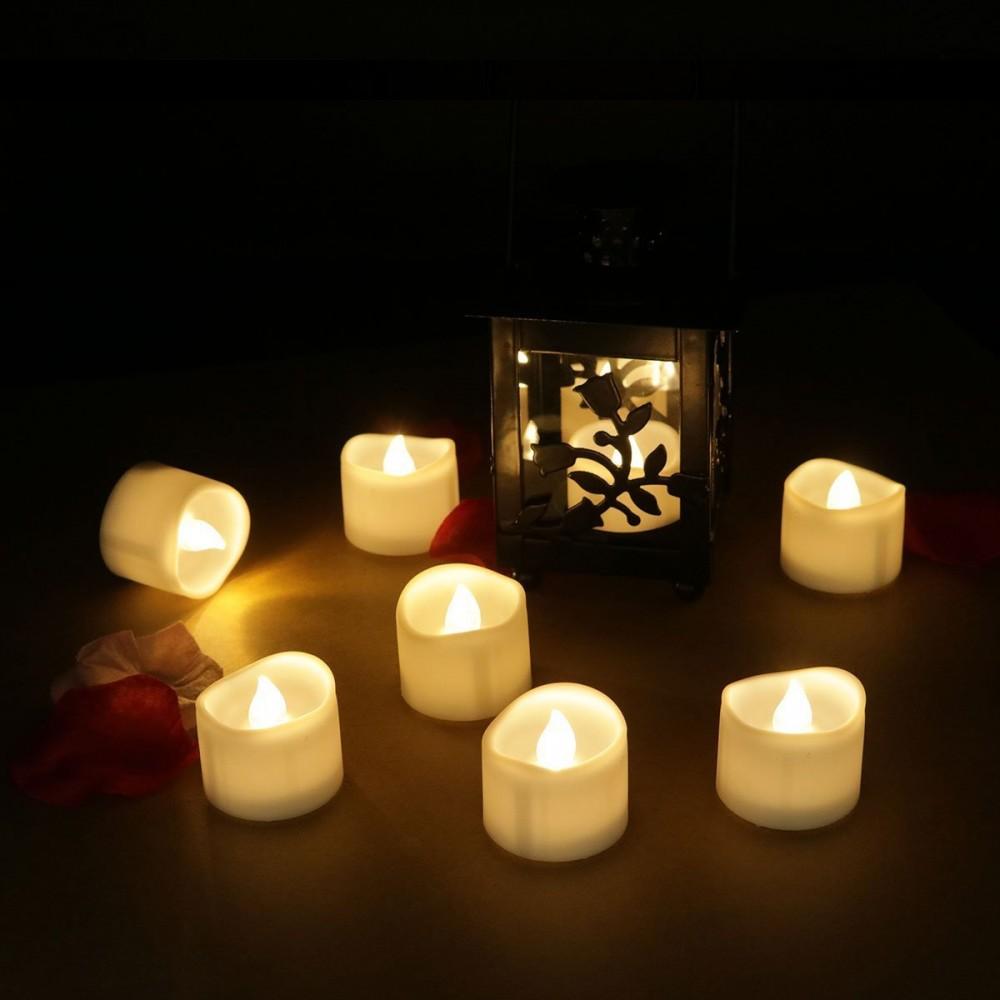 12pcs led teelicht flammenlose elektrische flackernde kerzen. Black Bedroom Furniture Sets. Home Design Ideas