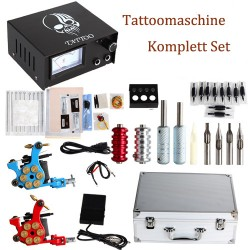 Profi Komplett Tattoo Tattoomaschine Kit 2 Doppelkopf Tattoomaschinen