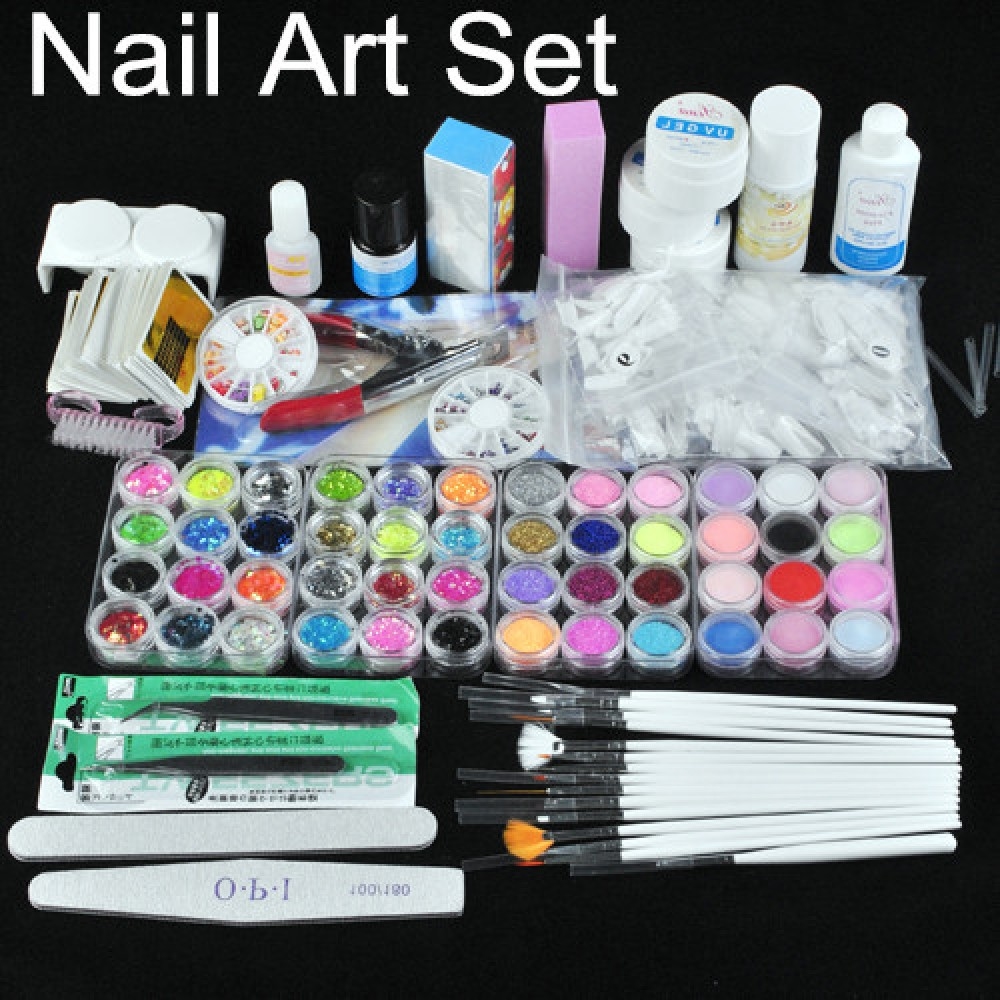 48tlg glitter uv gel nagel ger t nail art pinsel zubeh r. Black Bedroom Furniture Sets. Home Design Ideas