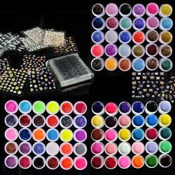 Nail Art Set Unifarben UV Gel 90 Dosen mit 50 Blatt 3D Nail-Stickers