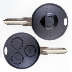 Schlüssel Gehäuse 3 Tasten mit Rohling für Smart Cabrio 450 Schwarz