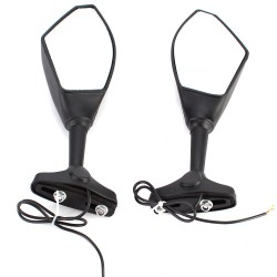Motorrad Lenkerspiegel 2pcs Rückspiegel Lampe mit LED Blinker schwarz