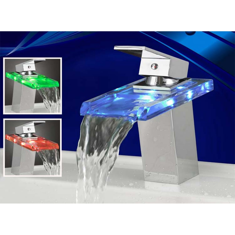 RGB LED Licht Wasserhahn Glas Waschtisch Spüle Waschtischarmatur ...
