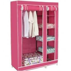 Stoffkleiderschrank Kleiderschrank, 5 Böden rosa 177 x 110 x 47 cm