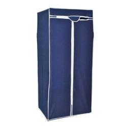 Mobiler Stoffschrank Kleiderschrank Faltschrank blau mit Kleiderstange