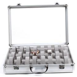 Uhrenbox für 24 Uhren Kasten Uhrenschatulle mit Glasdeckel, silbrig