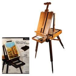 Holzfarbe Feldstaffelei mit Pigmente Set Pinsel Set, zusammenklappbar