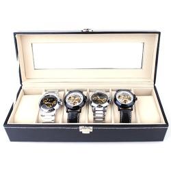 Uhrenbox Uhrenkasten für 6 Uhren Uhrenkoffer mit Glasdeckel