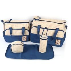Wickeltasche Baby-Pflegetasche Taschen-Organizer 5tlg Set blau/beige