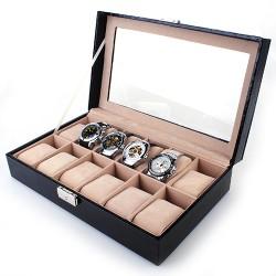 Uhrenkoffer f. 12 Uhren Uhrenbox Uhrenkasten mit Glasdeckel schwarz