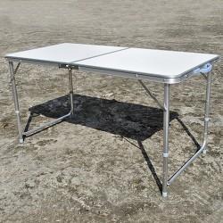 Campingtisch Gartentisch Klapptisch Alu höhenverstellbar 130x60cm weiß